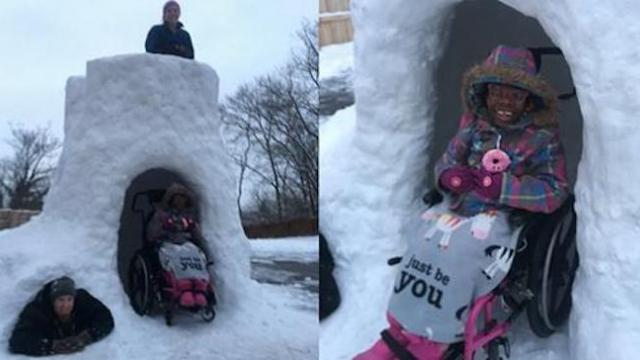 Dad builds wheelchair-accessible snow fort so all of his children can play together