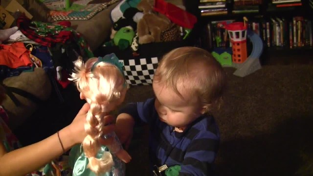 This little boy discovers his sister's 'Frozen' doll and when the music starts...oh my goodness