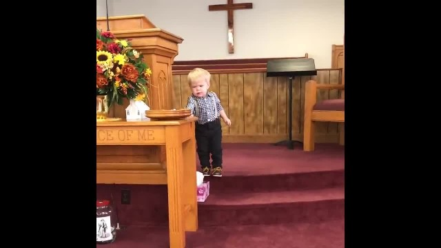 Pastor's son hops up on stage before service starts, delivers sermon and has entire church in stitch