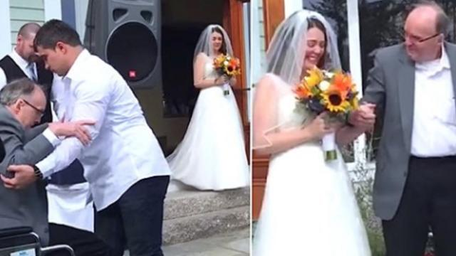 Bride plans to walk herself down aisle when paralyzed dad stands up to reveal his 8-month secret