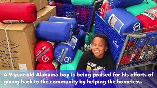 9-year-old boy buys 100 sleeping bags, socks and food for the Birmingham, Alabama homeless