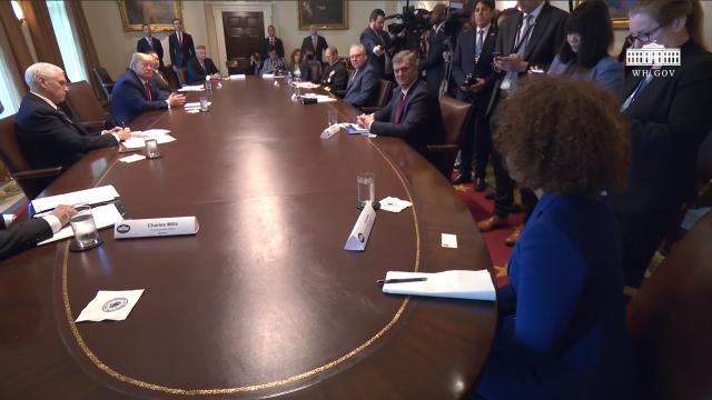 President Trump participates in a meeting with supply chain distributors