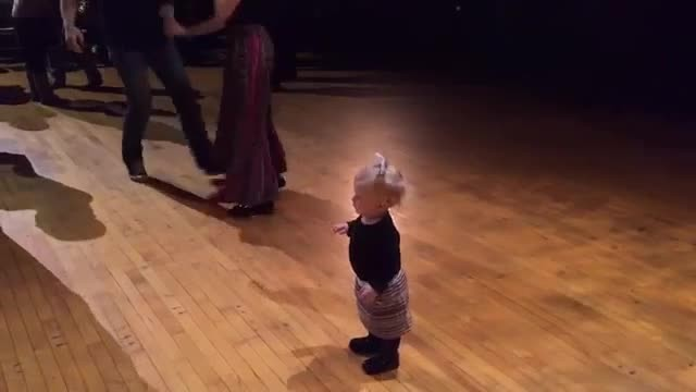 Everyone is in hysterics as they watch this little girl do her favorite dance