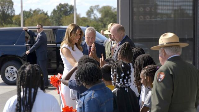 First Lady Melania Trump Attends Washington Monument Re-opening Ceremony