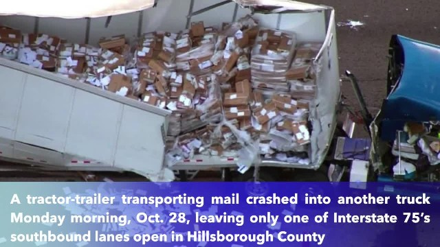 Truck crash leaves massive mess of mail along I-75