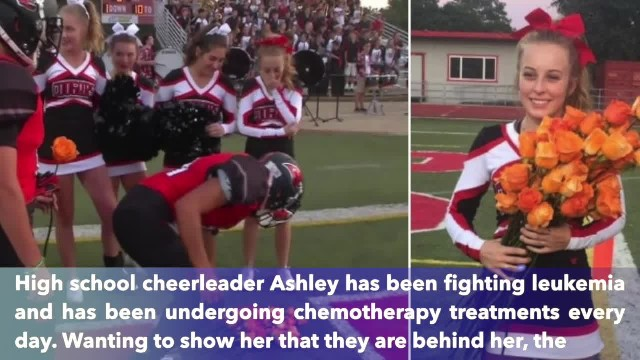 Devastated by cancer diagnosis, cheerleader is left in tears when football players toss these at her