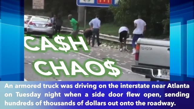 Armored vehicle drops more than $175,000 on road