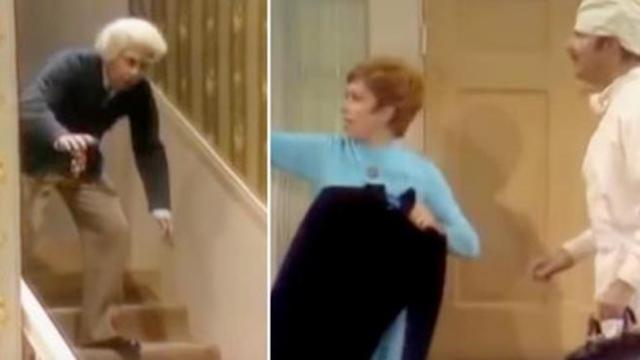Carol Burnett and Harvey Korman try to keep it together watching Tim Conway perform the funniest 'fa