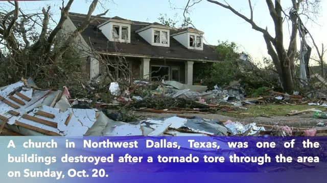 Wooden cross still standing after tornado rips through Texas church
