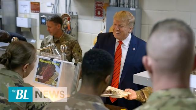President Trump serves US troops in Bagram Air Field visit