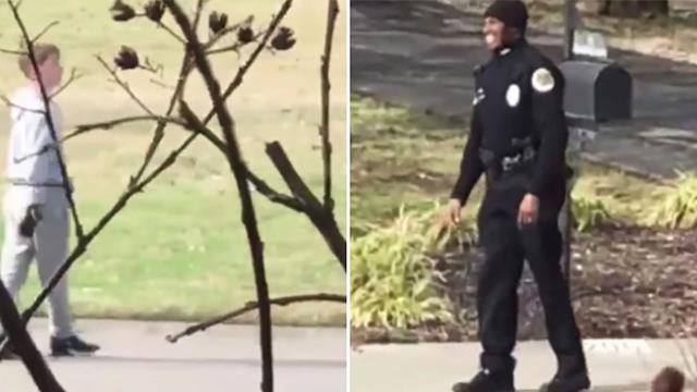 Police officer spots young boy playing alone in cold, joins him to play catch
