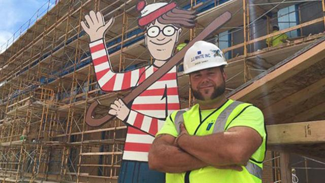 Construction worker plays real-life game of 'Where's Waldo?' with kids in hospital across the street