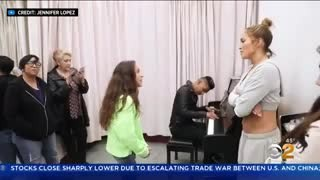 J.Lo's 11-year-old daughter Emme shows off her incredible voice while singing Alicia Keys song