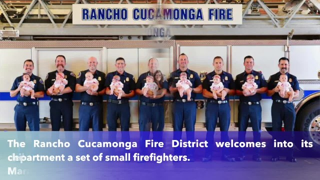 9 Rancho Cucamonga firefighters take pictures after welcoming newborns within months of each other
