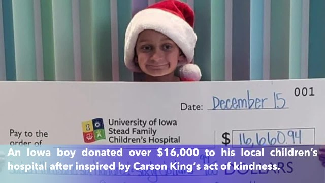 9-year-old donates over $16,000 to Iowa children's hospital
