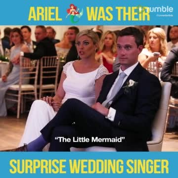"Bride's Jaw Hits The Floor When Real ""Little Mermaid"" Walks On Stage With A Gift For The Couple"