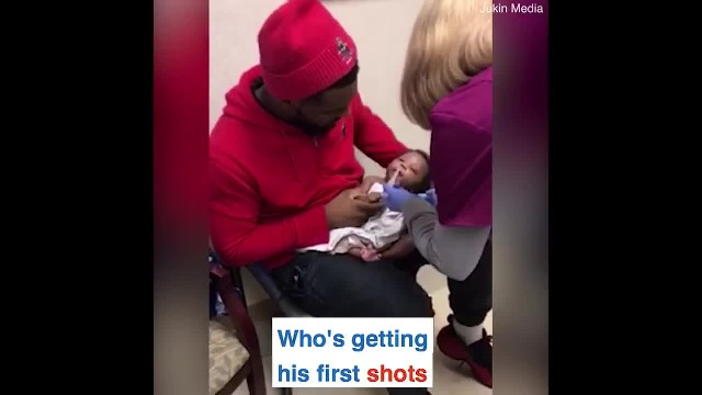 Daddy Himself Is Terrified Of Needles Has Nurse Laughing At His Method For Comforting Newborn's 1st