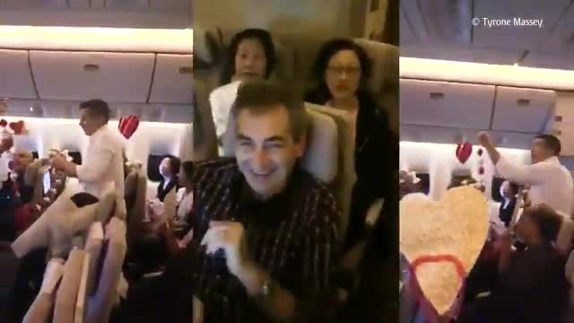 """ This Emotional Video Of A Man Proposing To His Flight Attendant Girlfriend On A Plane Is Going Vir"
