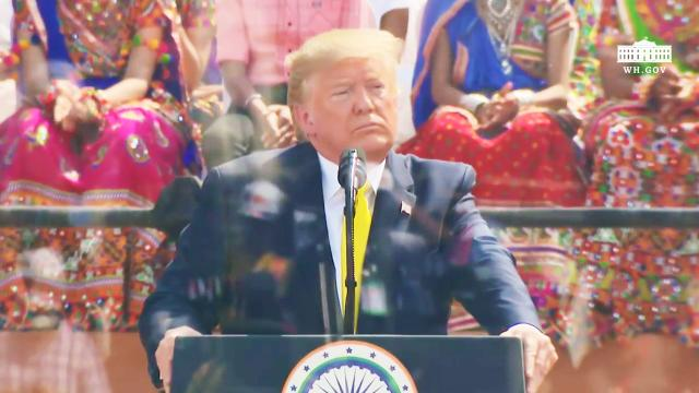 President Trump delivers remarks at a Namaste Trump rally