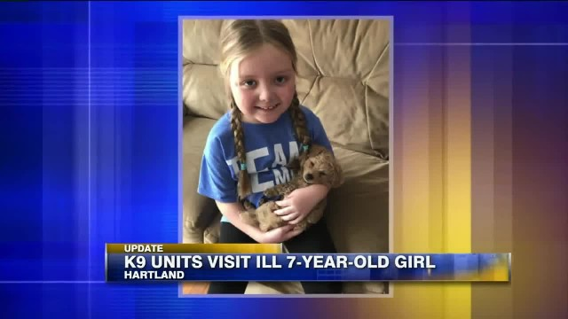 Terminally ill 7-year-old girl who loves dogs gets visit from dozens of K-9 units