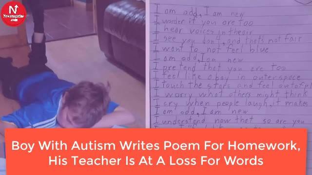 Autistic Boy's Poem He Did For Homework Has His Teacher And The Internet At A Loss For Words