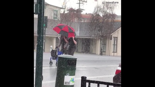 Kid Wearing Shorts & T-Shirt Runs Into Intense Hailstorm, Shields Elderly Man In Heartwarming Act Of
