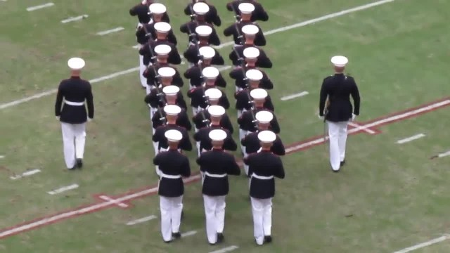24 Marines Line Up At Football Game. When They Start Moving, The Crowd Can't Look Away!