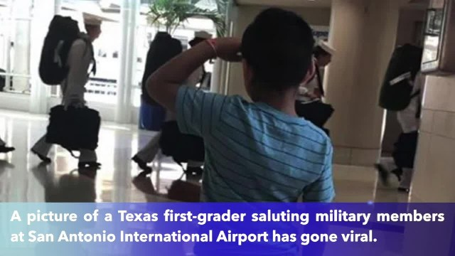 6-year-old Texas boy goes viral by saluting military at San Antonio airport