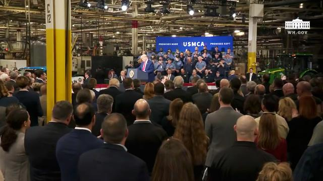 President Trump delivers remarks at a USMCA celebration with American workers