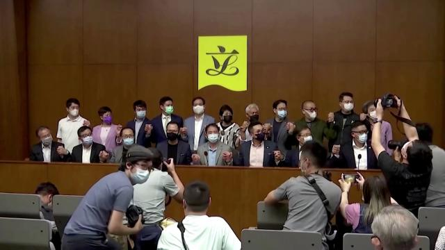 Hong Kong's opposition lawmakers resign en masse