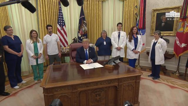 President Trump signs a proclamation in honor of national nurses day