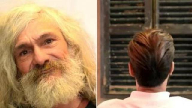 Spanish homeless man gets a makeover. He doesn't even recognize himself.