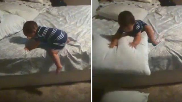 Baby attempts to come down from bed—his method will make you