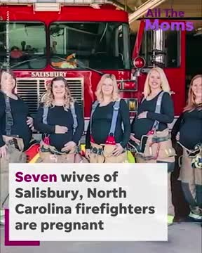 Sweet photos capture 7 firefighter wives all pregnant at the same time
