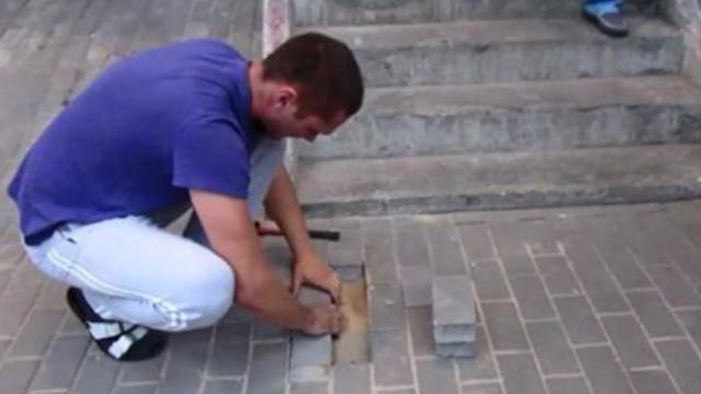 Man hears barking coming from underneath sidewalk and finds dog buried alive