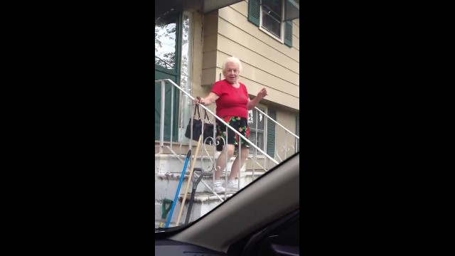 Oldies music plays outside. Gran comes running and teen immediately hits record