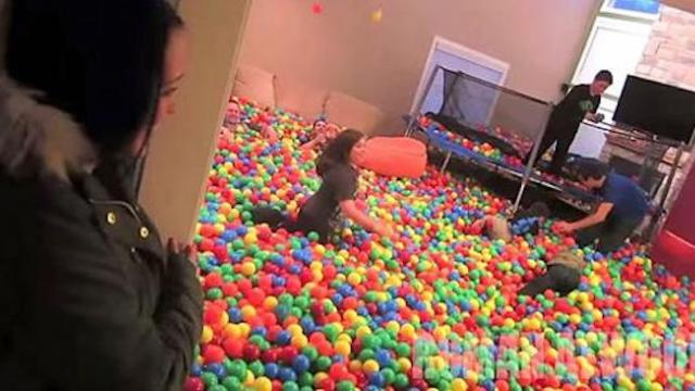 Dad turns their home into a ball pit. When mom opens the door, it's PRICELESS