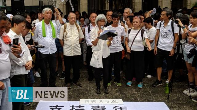 Seniors rally to support Hong Kong youths