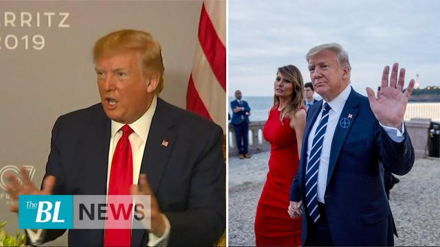 President Trump discusses Iran and Middle East Peace talks with reporters at G-7