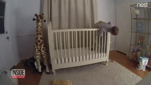 Toddler falls headfirst out of crib, nanny cam footage shows he's got a guardian angel