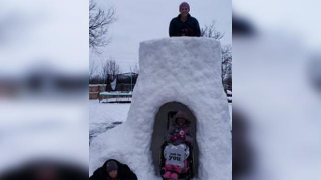 Dad builds snow fort with special wheelchair entrance, internet just can't get enough