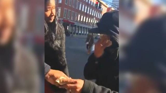 Woman confronts homeless man only to break down discovering their connected past