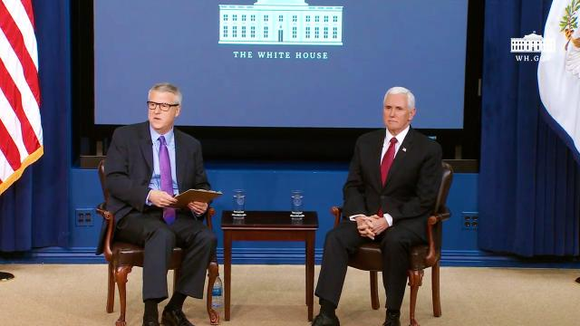 Vice President Pence participates in a fireside chat at Hoover institution board of overseers