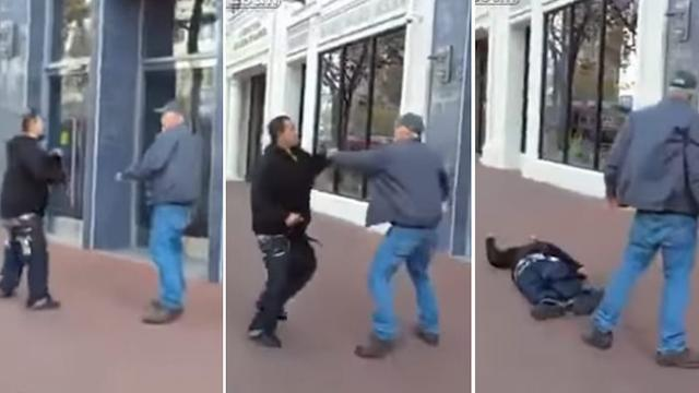 A thug tried to attack an innocent elderly man, but didn't know he was in for