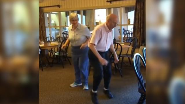 Elderly couple on vacation has got a few surprising moves under their belt