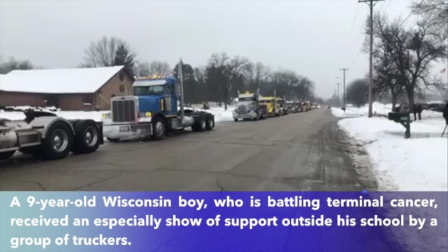 50+ truckers convoy to bring joy to 9-year-old Wisconsin boy with terminal cancer