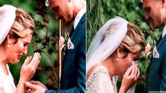 Officiant asks wedding couple to bow for prayer as bride hears