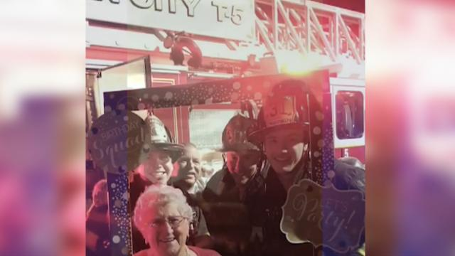 Candles on 90 year old woman's birthday cake sets off fire alarm