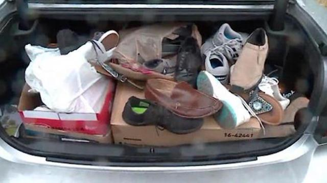 Man spends brutal winter driving around with trunk full of shoes,