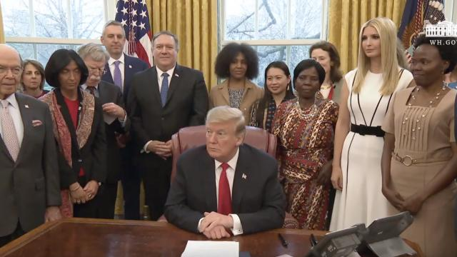 TRUMP SIGNS GLOBAL WOMEN'S ECONOMIC INITIATIVE